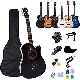 Rosefinch Guitarra acústica 38 pulgadas tamaño Guitarra Acústica Kit Cutaway Folk Guitarra Bundle con kit para principiantes (púas, capo, cuerdas, afinador, correa.) Negro