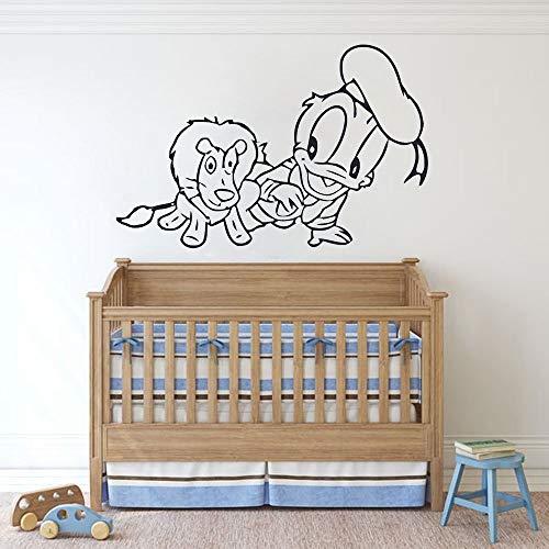 Bebé pato tatuajes de pared dibujos animados pequeño león dormitorio de los niños habitación del bebé decoración del hogar puertas y ventanas vinilo pegatinas de arte papel tapiz de guardería