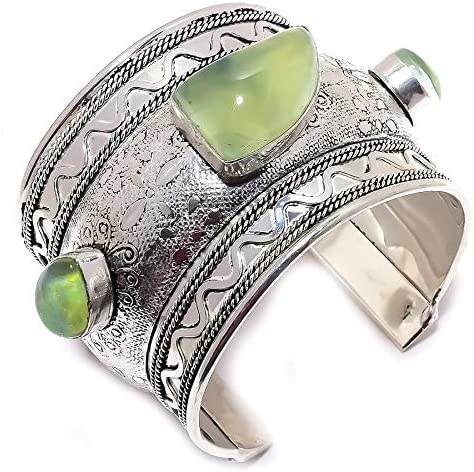 YUVI Prehnite, Triplet Fire Opal .925 Silver Jewelry Cuff Bracel