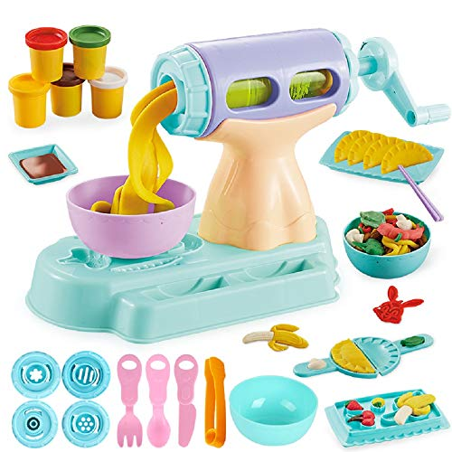 Dear Deer Play Dough Kitchen Creations Noodle Maker Play Dough Set Handmade DIY Creative Noodle Machine Toy Kit with Dough and Molds for Kids 23 Pieces