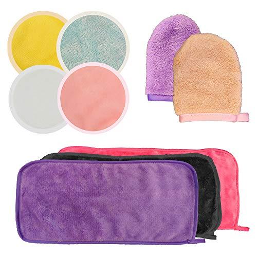 CNYMANY - 9 unids reutilizable removedor de maquillaje, toalla de limpieza de microfibra de bambú de fibra de bambú limpiador de labios facial para rimel maquillaje de ojos lápiz labial
