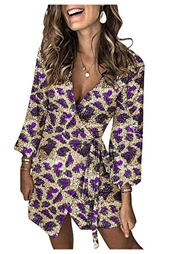 Vestito Brillantinato Donna Corto Abiti Paillettes Tunica Manica Lunga Vestiti Leopardati Ragazza Abito Incrociato con Nodo Spacco Vestitini da Cerimonia Sera Festa Giorno Ufficio Clubwear Party Dress