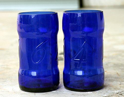 Reciclar Factory Lot de 2 verres à bière en forme de bouteille de Kronenberg 1664 Bleu/vert