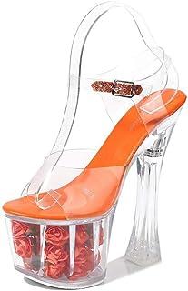 Womens Transparent Crystal Wedding Sandals,PeepToe Rose Ultra High Heels,Fish-Billed BlockHeelBucklePromPartyShoes,Orange,36 EU