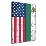 Arnold Glenn Retro Mexican American Flag Mexico -Picture Paintings Canvas Wall Art Prints Contemporary Home Decoration Giclee Artwork-Wood Frame Gallery Wrapped 12'x16'