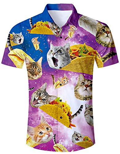 Men's Hawaiian Shirts Galaxy Burrito Taco Pizza Cat Print Tropical Beach Aloha Shirt Casual Button Down Short Sleeve Dress Shirts