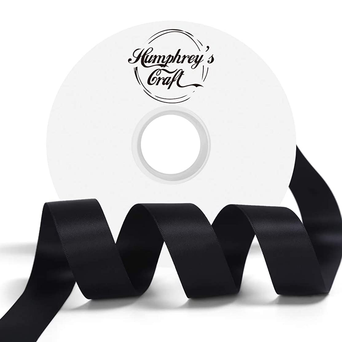 Humphrey's Craft 1-inch Double Face Solid Satin Ribbon 100% Polyester Ribbon Roll-50 Yard (Black)