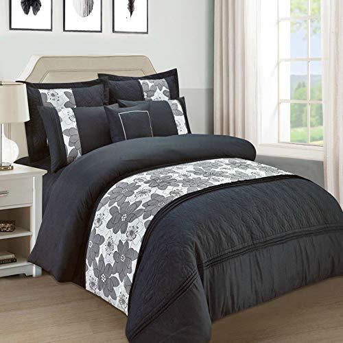 Lujoso juego de cama formado por 7 piezas de colcha y 4 fundas de edredón - Diseño NOVENA, 4P Black/White, matrimonio