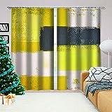 LJUKO Cortina Opaca en Cocina el Salon dormitorios habitación Infantil 3D Impresión Digital Ojales Cortinas termica - 140x100 cm - Amarillo Negro línea Arte