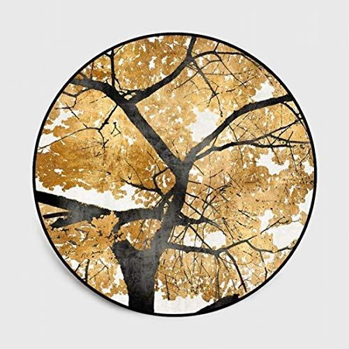 FORNCALO tapijten tapijten matten deurmatten Scandinavische gouden blad boom ronde tapijt tapijten voor woonkamer computer stoel anti-slip vloer matten kinderen spelen tent garderobe