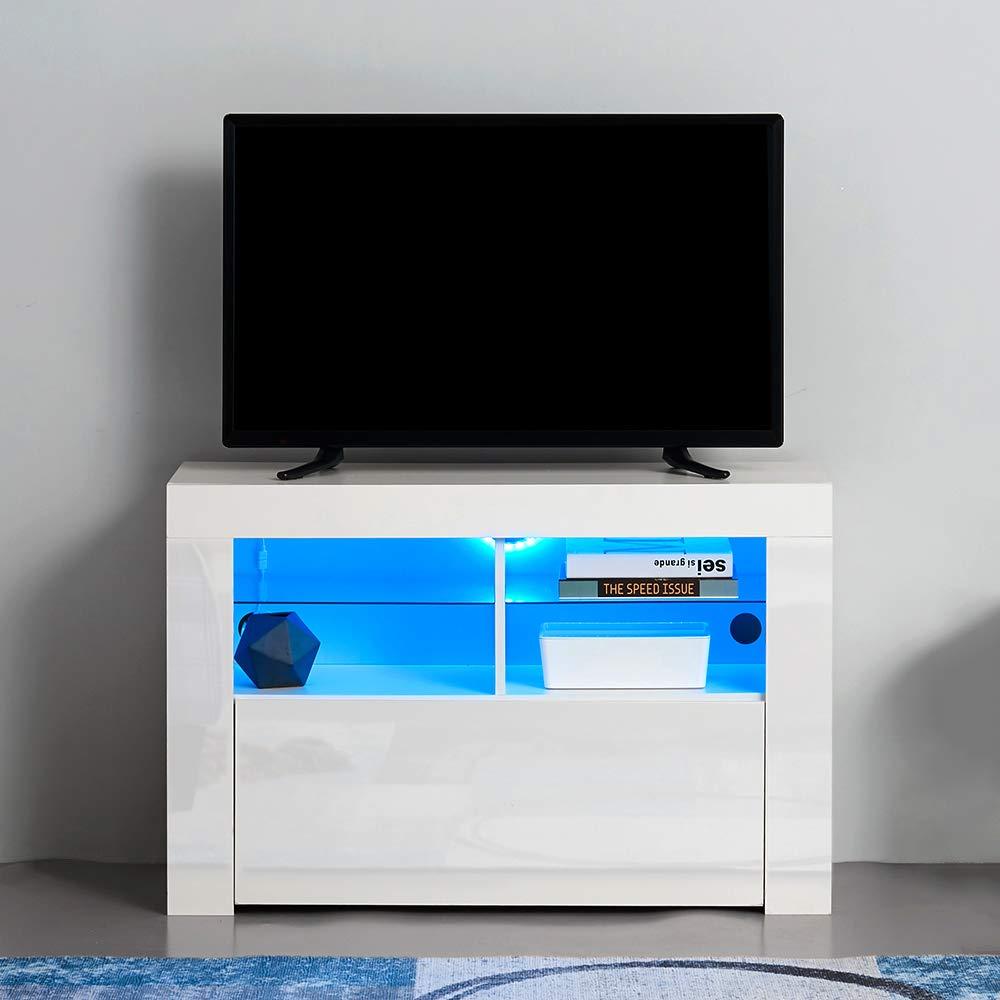 PananaHome - Mueble Moderno para televisor con Luces LED frentes de Alto Brillo para Sala de Estar with LED Lighting Blanco: Amazon.es: Electrónica