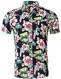 AIDEAONE Herren Knopf Bunt Blume Hemd Strandkleidung Kurzarm Urlaub Hemd Hawaii Schwarz