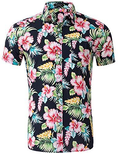 AIDEAONE Herren Blume Hawaiihemd Kurzarm Shirt Lässige Bunt Knopf Hemd für Hawaii-Themeparty
