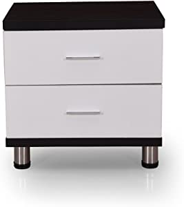 Royaloak Grape Bedside Table with 2 Drawers (Black and White)