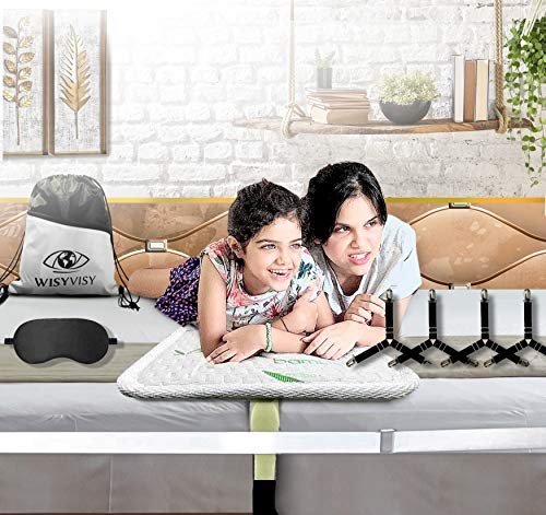 Wisy Visy CertiPUR-US Value for Money 12In Extra Wide Bed Bridge Twin to King Bed Converter Kit with Goodies-Eye Mask-4 Sheet Fasteners-Multiuse Drawstring Bag-Nonslip Sturdy Twin Bed Gap Filler Kit