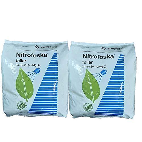 Nitrofoska Abono foliar 24-08-20. 10 KGS(2X5kgs). Primavera y brotacion. Fertilizante nitrogenado.Abono foliar...
