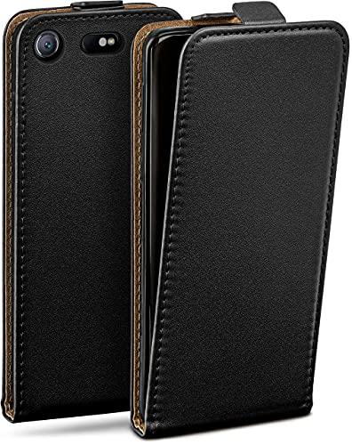 moex Flip Hülle für Sony Xperia XZ1 Compact - Hülle klappbar, 360 Grad Klapphülle aus Vegan Leder, Handytasche mit vertikaler Klappe, magnetisch - Schwarz
