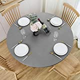 NLMUVW Round Fitted Vinyl Tablecloth with Elastic Edge 100% Waterproof Oil Proof PVC Table Cloth Wipe Clean Table Cover for Indoor and Outdoor, Grey, 40