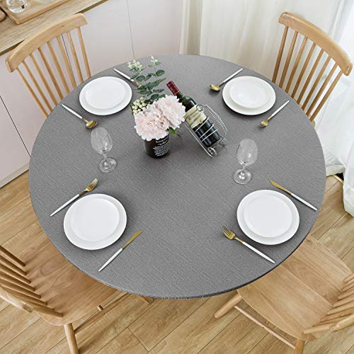 NLMUVW Round Fitted Vinyl Tablecloth with Elastic Edge 100% Waterproof Oil Proof PVC Table Cloth Wipe Clean Table Cover for Indoor and Outdoor, Grey, 40' - 44'