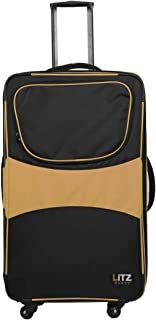 Gold and Black Dance Luggage with Garment Rack - Dance Suitcase with Hanging Rack - Travel Dance Bag with Rack - Cheer Luggage - Closet Trolley Dance Bag - 29in Suitcase - (Litz Competition Roller)