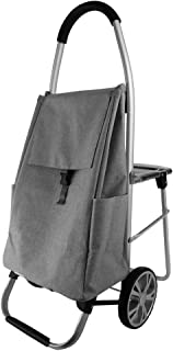 DNSJB Portable Seated Folding Trolley with Portable Waterproof Fabric Capacity Increased (Color : Gray, Size : 60 * 100cm)