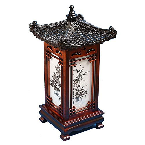 Carved Wood Lamp Handmade Traditional Korean Roof and Window Design Art Deco Lantern Brown Asian Oriental Bedside Bedroom Accent Unusual Table Light