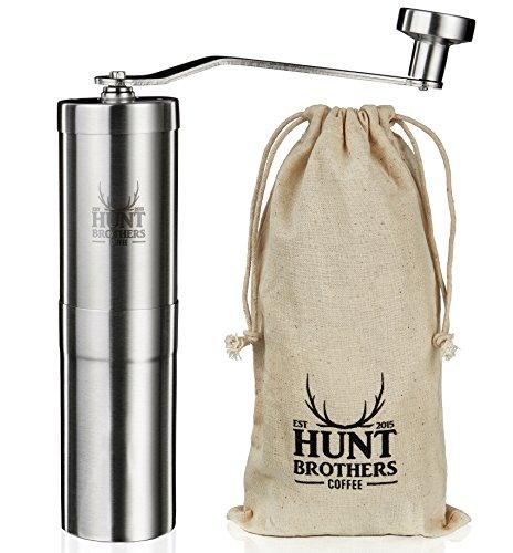 Hunt Brothers Kaffeemühle | Design Handkaffeemühle aus Edelstahl | Konisches Keramikmahlwerk | Hochwertige Espressomühle | Präzise Mahlgrad-Settings | Kompakte Reisemühle