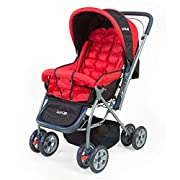 Reversible handlebar - Allows baby to face parent while strolling; Lightweight Aluminium 3 position Seat recline for baby's comfort I Carrying Capacity up to 20 kgs Safety Belt to safely secure the baby inside the stroller. Large shopping basket 360°...
