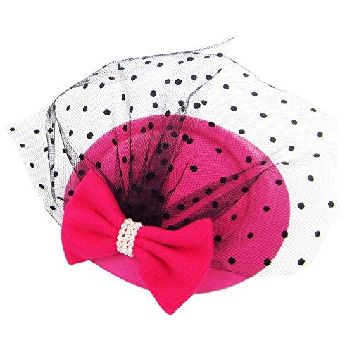 HowYouth® Damen Mesh Netz Blume Pillbox Haarspange Fascinator Hut Hochzeit Cocktail Derby (Rosa Rot)