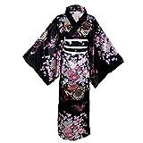 Women's Kimono Costume Adult Japanese Geisha Yukata Sweet Floral Patten Gown Blossom Satin Bathrobe Sleepwear with OBI Belt (30-Long Black)