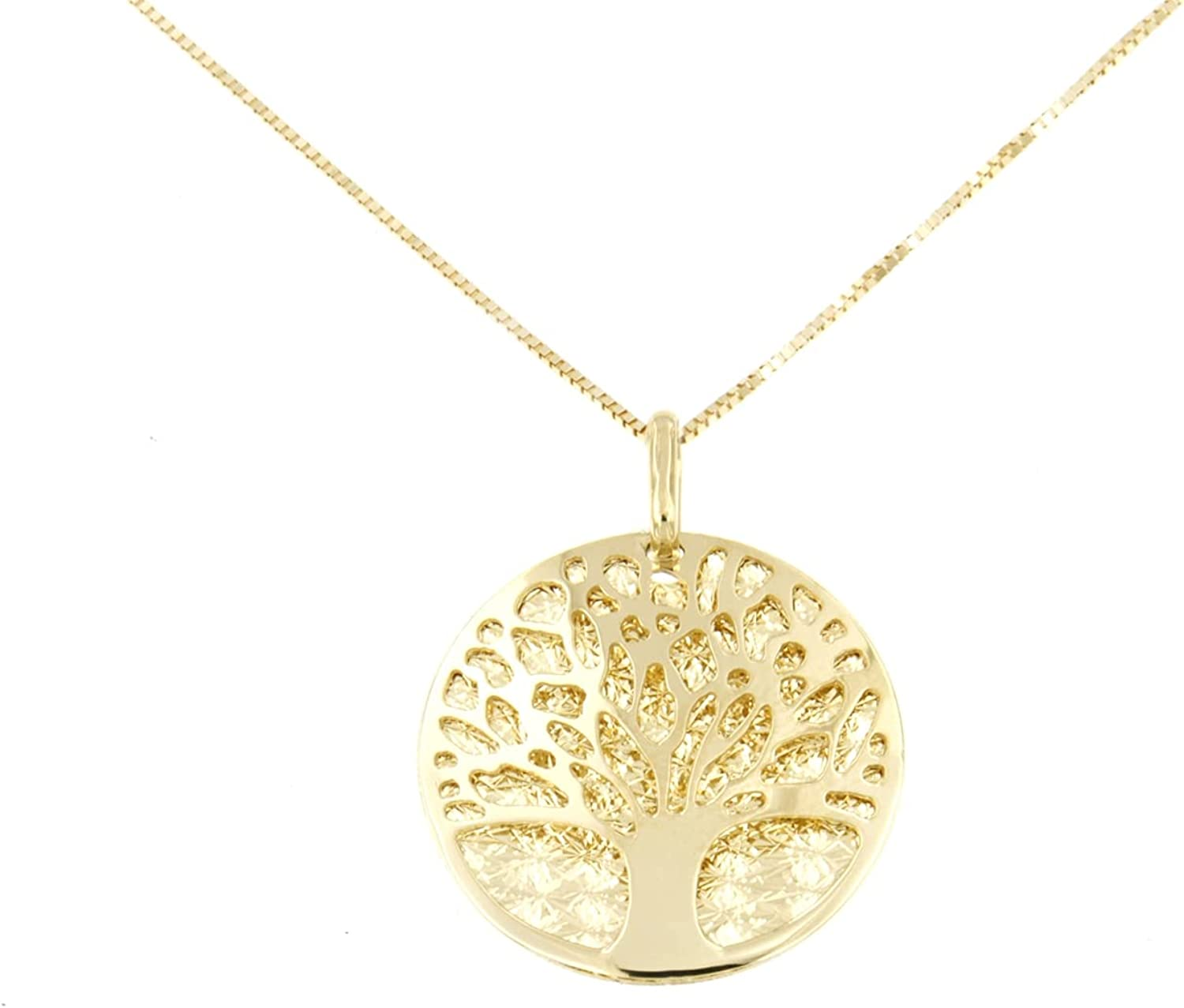Lucchetta - Premium 14 karat Yellow Gold Tree of Life Pendant Necklace, 16+2 inch, 14k Italian Solid Gold Necklaces for Women Teen Girls, Made in Italy Fine Jewelry, XD8431-VE38