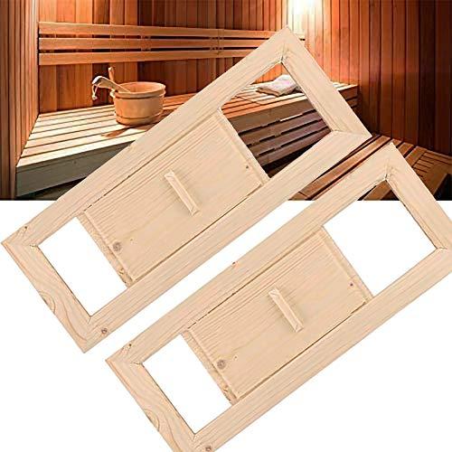 Hezhu 2X Sauna Lüftungsschieber Lüftungsklappe Abluftschieber, Leicht Installation, mit Schieber Holz