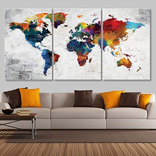 Map for Wall Canvas Print Large Wall Art for Living Room Decor Canvas Print Push Pin World Map Wall Art Canvas Sets, Watercolor Map Wall Decal Framed Stetched On Canvas Art Map Of World vk1