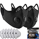 BASE CAMP M Plus Dust Mask 2 Pack with Extra 6 Activated Carbon Filters for...
