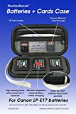 Batteries + Cards Case Holds 3 Canon LP-E17 Batteries + Memory Cards - Grey