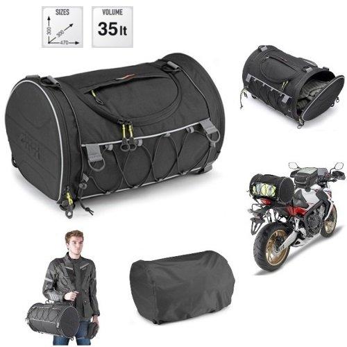 Compatibel met BMW K 1200 R sporttas GIVI EA107B 35 LT scooterrol voor motorfietsen, universele bevestiging met riem en riem 300 x 300 x 70 mm zwart