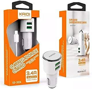 Carregador Veicular Kaidi Original 3.4A 2 Usb Para Iphone 5 6S Plus 7 8