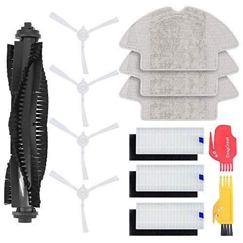 DingGreat Ersatzteil Kits für 360 S6 Staubsauger Roboter Zubehör - 1 Hauptbürste, 4 Seitenbürsten, 3 HEPA Filters, 3 Mikrofasermopptuch, 1 Reinigungsbürste