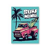Liwendi レトロハワイサーフポスターとプリントビーチサーフィンカーウォールアートキャンバス絵画ヴィンテージヴァンバス画像沿岸アート壁の装飾60X80 CmフレームなしPh4736