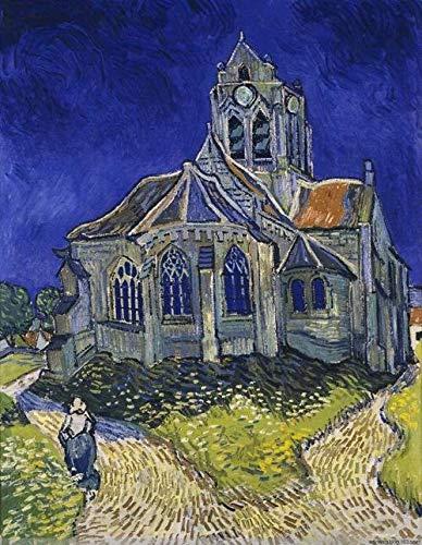 xpwan DIY Ölfarbe Kunstwerk Landschaftsbilder Van Gogh Kirche Weihnachten, Thanksgiving, Halloween Geschenke-40X50CM-Mit Rahmen
