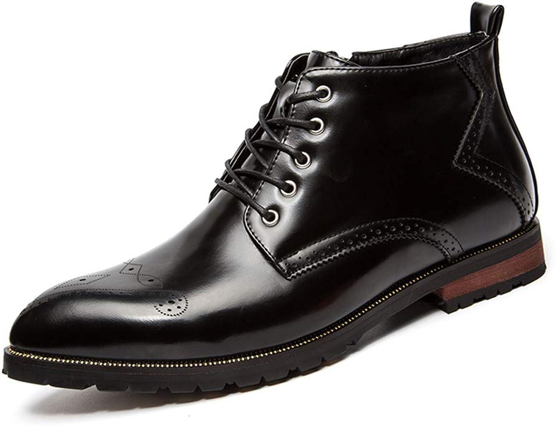 Shufang-schuhe Herren-Stiefeletten Retro-Pinsel Farbe mit Reißverschluss oberen Seite geschnitzt Brogue Casual Classic Schuhe (Farbe   Schwarz, Größe   41 EU)  | Glücklicher Startpunkt