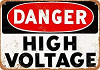 白い桜雑貨屋 アンティーク 看板 Danger High Voltage おしゃれ 雑貨 通販 ブリキ アメリカン ガレージ 壁の装飾装飾芸術 20x30cm
