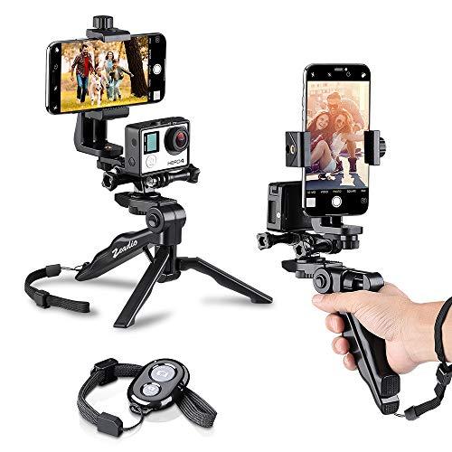 Zeadio Grip estabilizador de Mano y trípode Combo con Doble Pantalla Plana, Soporte para teléfono y Mando a Distancia Bluetooth para Todos Cámara de acción Smartphones, también como Selfie Stick