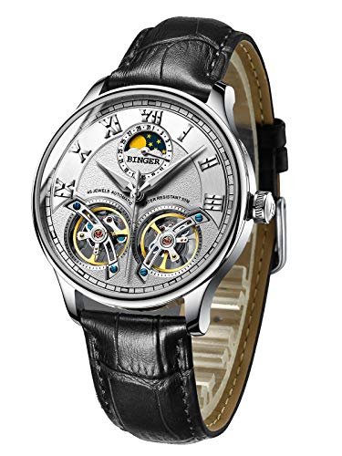 BINGER Men's Skeleton Automatic Mechanical Wrist Watch with Leather Band (White)