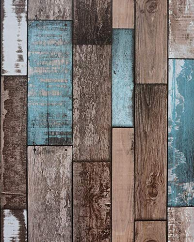 """3D Wallpaper Wood Planks Peel and Stick Wallpaper Backsplash for Walls Wood Contact Paper Decorative Self Adhesive Removable Reclaimed Wood Wallpaper for Bedroom Kitchen 17.7""""x236'/Roll"""