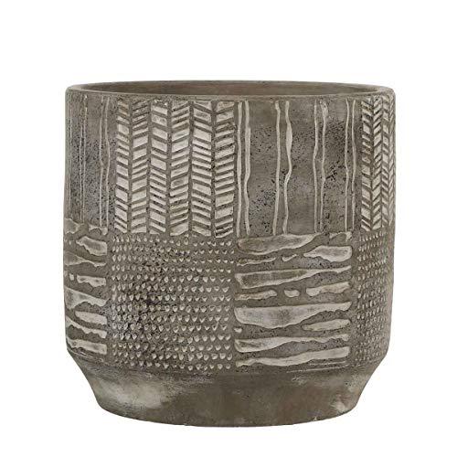 Mica Decorations Lynn Pot de fleurs ciment rond gris clair 20 x Ø 21 cm - Pot de plante