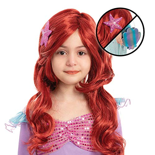 Girls Red Long Curly Mermaid Wig with Star Barrett and Shell Purse Halloween Little Mermaid Costume Wig Mermaid Cosplay Party Accessories