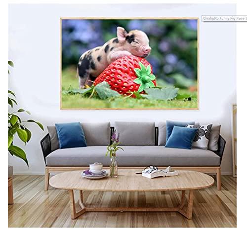 pujiaoshang Divertida Carrera de Cerdos, pequeño lechón, Cerdito, póster artístico, Pintura en Lienzo, imágenes Impresas, Sala de Estar, decoración del hogar, regalos-60x90cm sin Marco