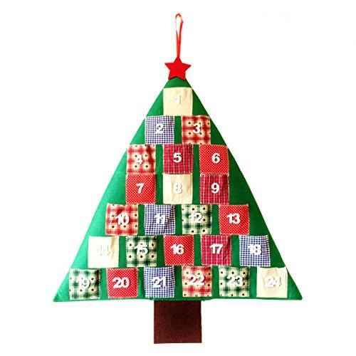 Mopec Calendario de Adviento Abeto en Fieltro y Patchwork, Verde, 1.5x59x71 cm