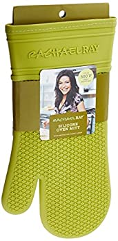 Rachael Ray Silicone Kitchen Oven Mitt with Quilted Cotton Liner Green
